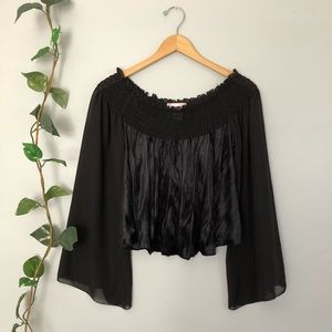Band of Gypsies sheer sleeve cropped blouse